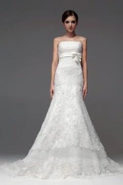 Robe mariée longue blanche bustier dentelle sirène à nœud papillon