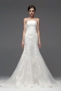 Elegant Strapless Lace Applique Mermaid Organza Wedding Dress