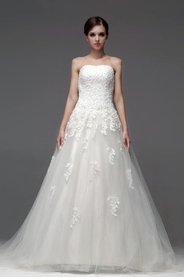 Gorgeous A Line Strapless Beading Floor Length Tulle Wedding Dress