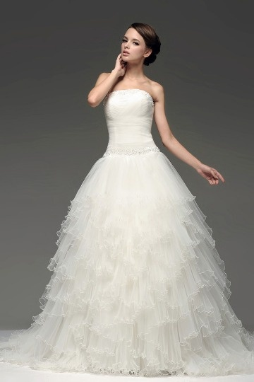 A Line Beading Strapless Ruffle Tulle Wedding Dress