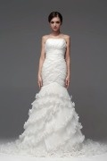 Beautiful Pleated Lace Applique Ruffle Organza Wedding Dress
