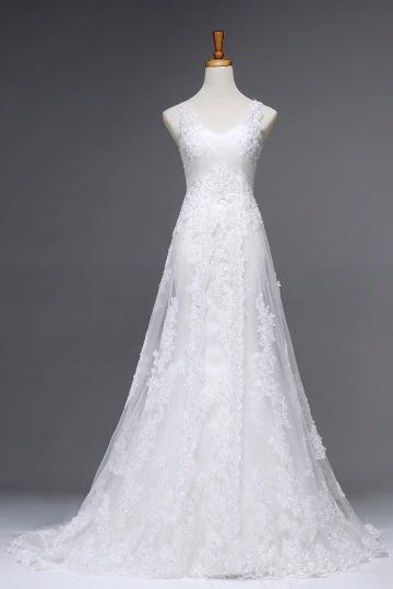 Chic V Ausschnitt Empire A-Linie Brautkleid aus Tüll Persun
