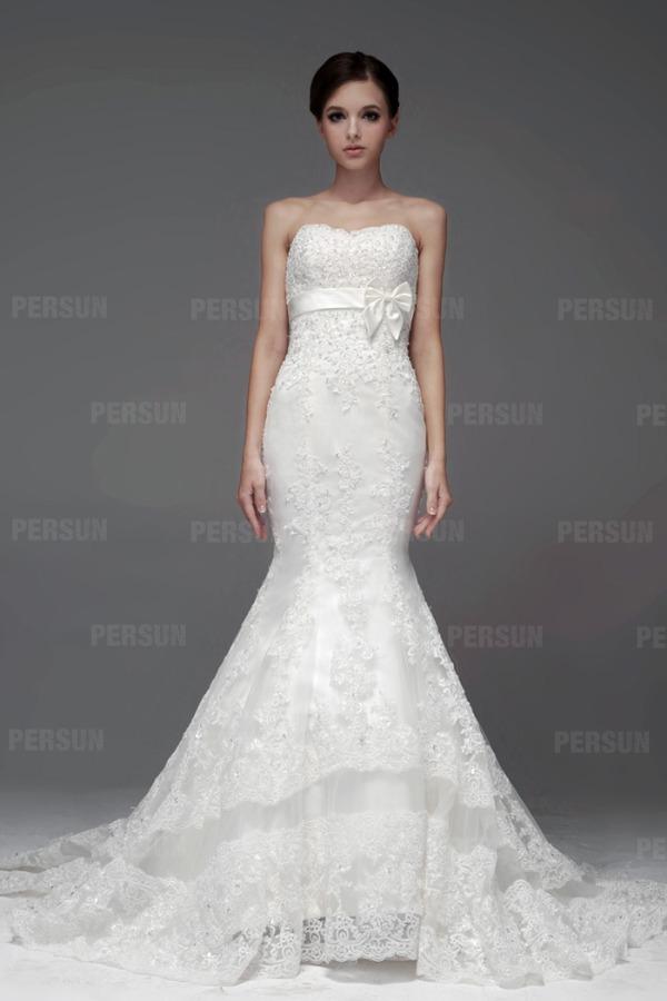 Meerjungfrau-Stil Perlen weißes Brautkleid mit Schleife Band