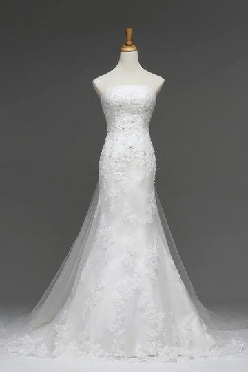 Tüll trägerloses Applikation Perlen Meerjungfrau Brautkleid Persun