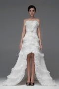 Gorgeous High Low Pleated Beading Organza Wedding Dress with Bow