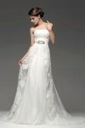 Trägerloses Spitze Perlen Applikation A-Linie langes Brautkleid