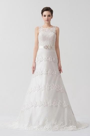 Hübsches Perlen Applikation langes Hochzeitsmode mit abnehmbaren Träger Persun