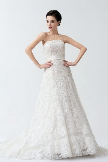 Prachtvolles trägerloses Spitze Brautmode mit Hof Schleppe Persun
