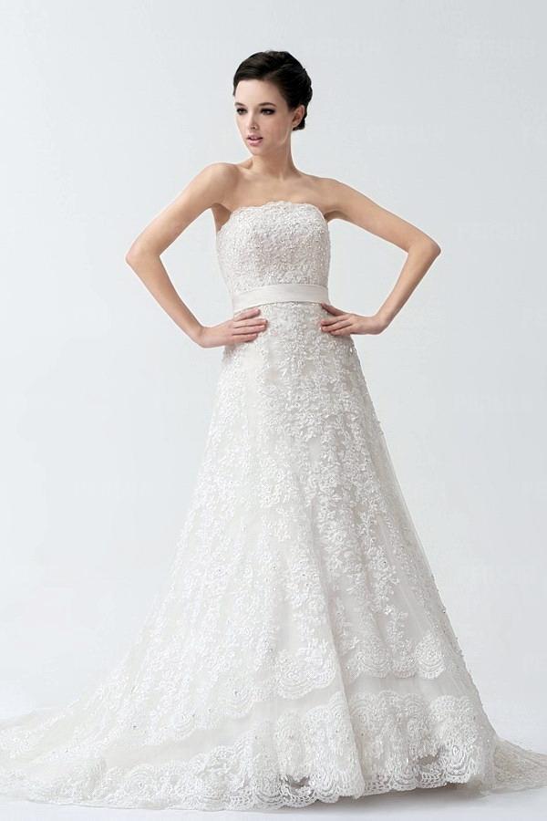 A-Linie Hof-Schleppe Trägerlos weißes Brautkleid mit Band
