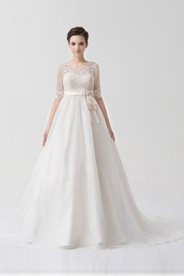 Organza Sweetheart Applique Lace Wedding Dress With Detachable Jacket