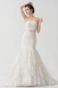 Organza Strapless Applique Beading Lace Mermaid Wedding Dress