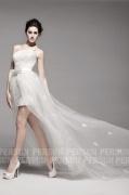 Kurz Schnürung A Linie 1 Schulter Brautkleid aus Organza