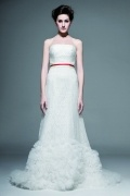 Red sash Lace wedding dress with ruffle details & Cathedral train