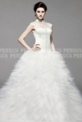Dazz Wedding dress with cut up ruffle skirt & sheer jewel neckline