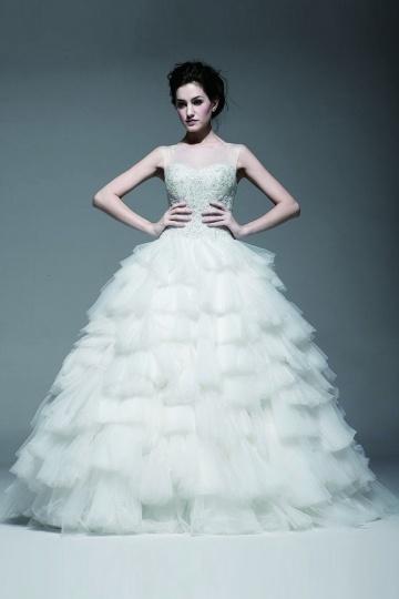 Princess Stil Rund Ausschnitt ärmelloses bodenlanges aus Tüll Brautmode Persun
