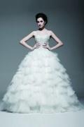 Princess Stil Rund Ausschnitt ärmelloses bodenlanges aus Tüll Brautkleid