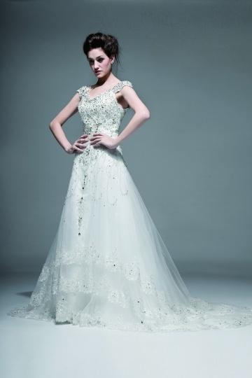 Elegantes A-Linie V-Ausschnitt mit Perle verziertes Brautkleider Persun