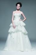 Romantisches Ärmelloses A Linie Brautkleid aus Organza