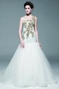 Meerjungfrau Stil 1 Schulter bodenlanges ärmelloses Brautkleid aus Organza