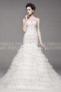Luxus Meerjungfrau Trägerloses Brautkleider aus Organza mit Hof Schleppe