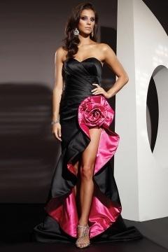 Noble Sexy Strapless Satin Flower High Low Black Graduation Dress
