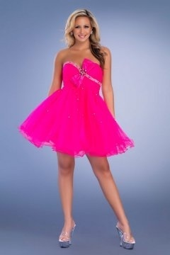 Alnwick Strapless Fuchsia Bows Pleated Princess Cocktail Gown