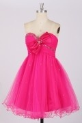 A line Strapless Bow Beaded Flared Prom/ Cocktail Dress