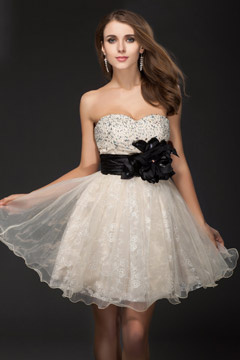 Organza Strapless Mini Black Sash Prom Dress Cheap