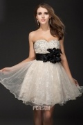 Applique Cascading Ruffles Strapless Organza A line Short Cocktail Dress