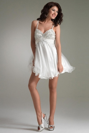 Newmarket Tulle Spaghetti Strap Beading Empire Cocktail dress