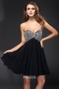 Beading Strapless Chiffon Mini A line Cocktail Dress