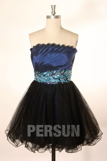 Sexy A Linie trägerloses Perlen verziertes blaues Cocktailkleid Persun