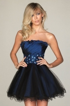 Sexy A line Strapless Beaded Blue Prom / Cocktail Dress