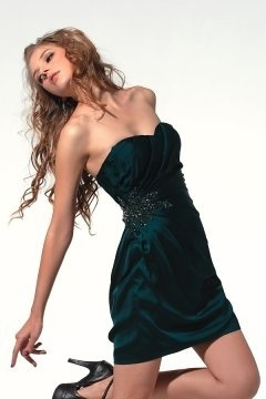 Sexy Short Strapless Ruched Green Prom Gown