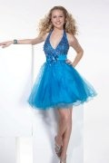 Cute Halter Empire Sequin Appliques Blue Prom/Cocktail Dress