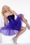 Purple Tulle Strapless Sequins Top Empire Cocktail Dress