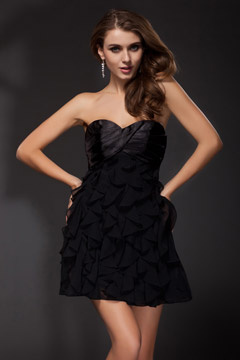Nuneaton Sexy Strapless Pleated Little Black Cocktail Dress