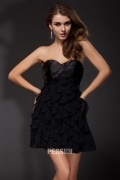 Strapless Pleated A-line Black Sexy Chiffon Prom / Cocktail Dress