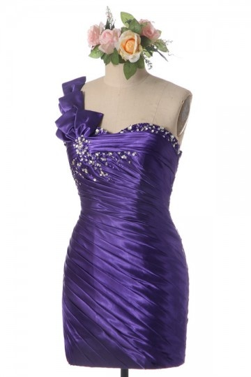 Sexy One Shoulder Beaded Floral Purple Prom / Cocktail Dress