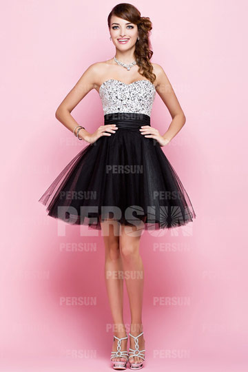 Dressesmall Beading Pleated Strapless Tulle A line Cocktail Dress