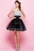Beaded Strapless A line Tulle Party Dress