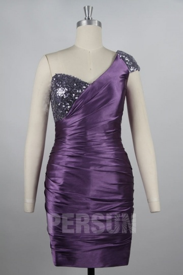 Sexy Pleated Sequin One Shoulder Column Satin Wedding Party dress