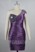 Sexy Sequin One Shoulder Pleated Cocktail Dress