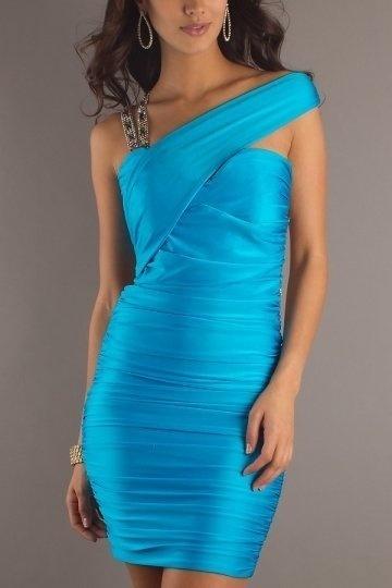 Robe bandeau courte bleue