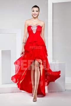 Salcombe Red Strapless Cascading Cocktail Gown
