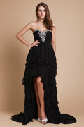 Sweatheart Strapless Beading Cascading Ruffles Chiffon Cocktail Dress