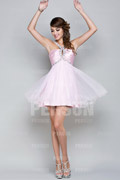 Sale Organza Halter Beading Pleated A line Cocktail Dress