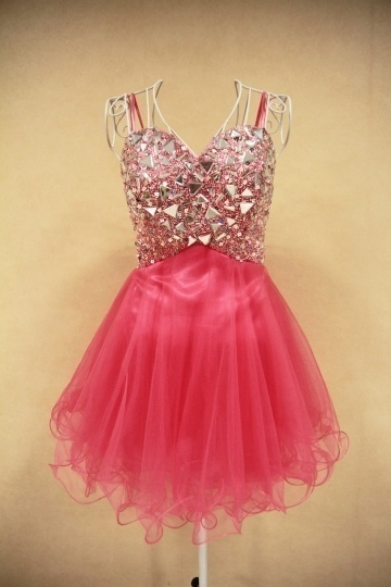 A line Strapless Beaded Tulle Short Cocktail Dress