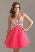 Salford Tulle Sweatheart Strapless Beading Sequins Mini Cocktail Gown