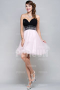 Princess Beading Pleated Sweetheart Organza A line Cocktail Dress